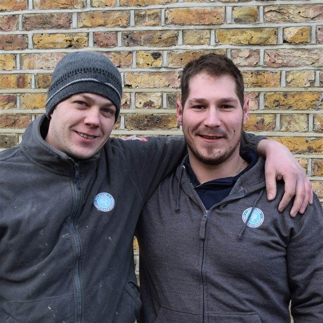 Cory and Zoli - our excellent tilers here at Ash Island Lofts