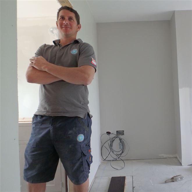 Haydn in Harwood Road admiring his work! This the interior to the mansard extension at the rear of the property - SW6