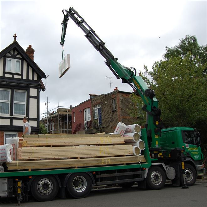 We aree taking delivery from Lawsons Timber (www.lawsons.co.uk) loft lifter crane at our recent loft conversion in Acton W3.