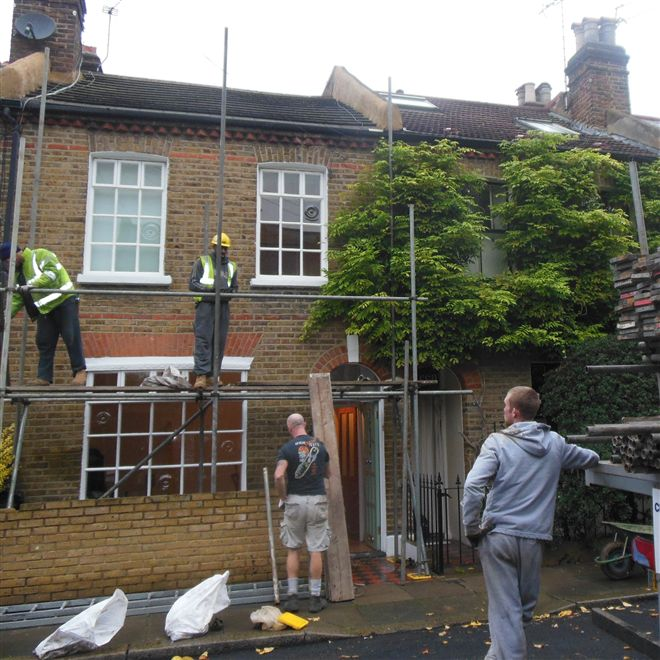 Scaffolding going up in Short Road Chiswick