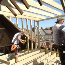 Ben and Russell building a dormer