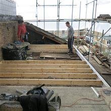Hayde and Billy fitting the floor joists at our L shaped dormer conversion in Coldershaw Road, Ealing, W13.