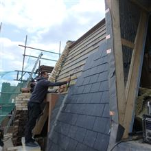Paul from Ash Island Lofts real slates to mansard face in Fulham SW6