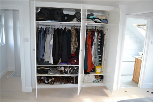 Bespoke wardrobe in loft space bedroom in Beaumont Road Chiswick W4