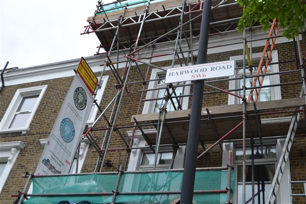 Two mansard roof extensions in Fulham SW6 under way