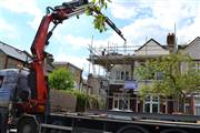 Steels & materials being craned into new project in Acton W3