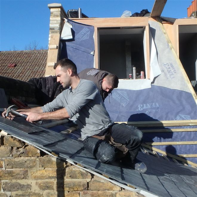 Paul and Luke from Ash Island Lofts at this mansard loft conversion in SW18