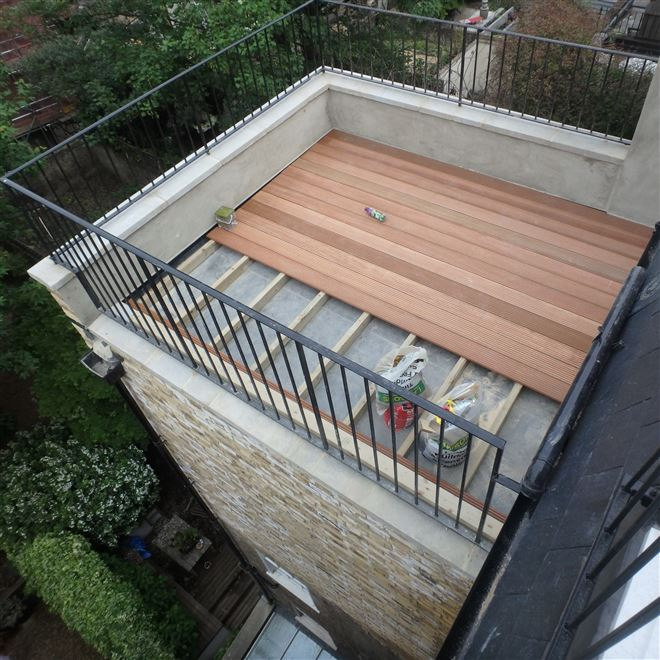 Built up Roof Terrace Extension in Harwood Road Fulham SW6