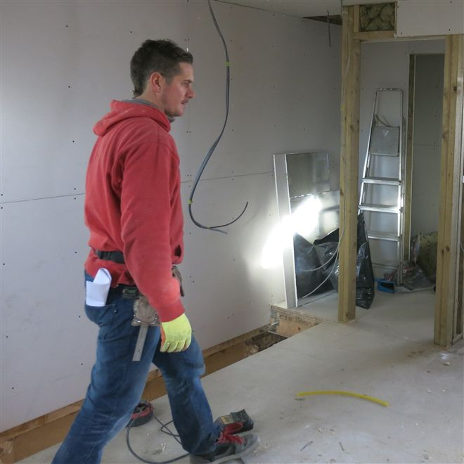 Hayden during the 1st fix of this loft conversion and house refurbishment in Hanwell, W7.