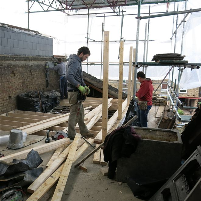 L shaped dormer in Ealing W13 - here is Dylan, Billy and Hayden starting framing up the dormer.