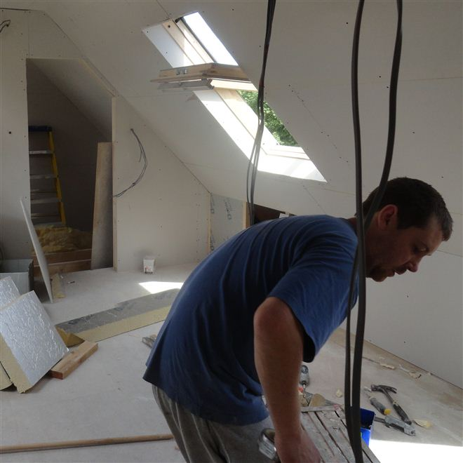 Nick plasterboard at this loft conversion in Goring on Thames.