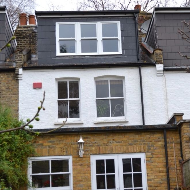 Rear dormer in Chiswick with hardwood sash windows