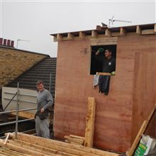 Hayden and Billy of Ash Island Lofts building an L shaped dormer in Chiswick W4