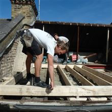 Billy from Ash Island Lofts setting out the steels and timbers in Hammersmith W6 Loft Conversion