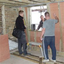 Paul from Halo Windows (www.halowindows.co.uk) measuring up for the hardwood sliding sash windows at this loft conversion in Chiswick conservation area.