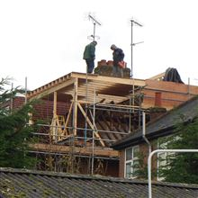 Craig and Lewis building the dormer at this loft conversion in Hanwell.