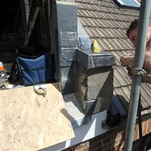 Matthew from Ash island Lofts welding the lead in Isleworth TW7