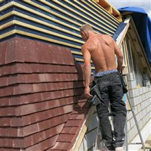 Paul tiling the dormer in Isleworth